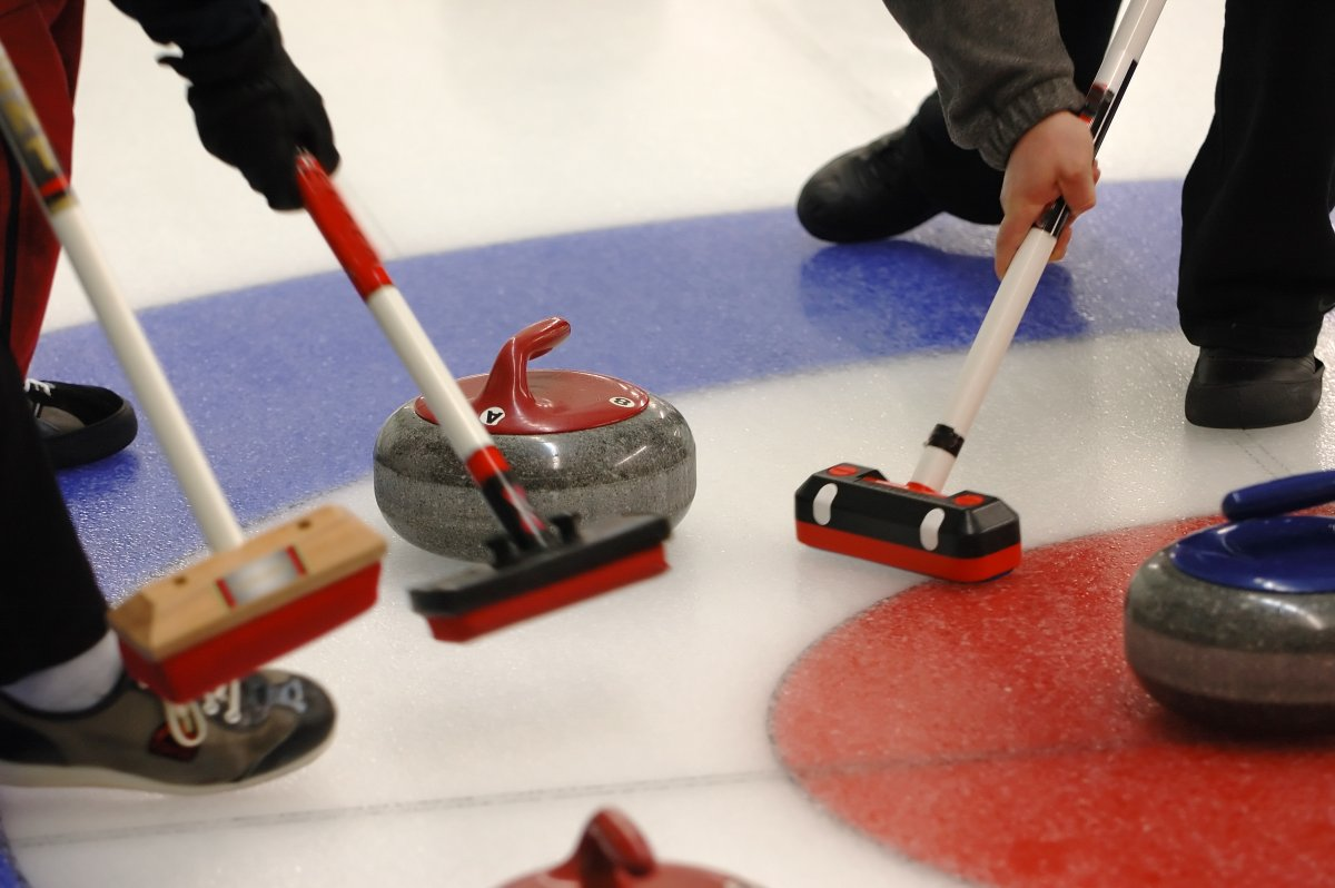 Images of curlers sweeping the ice