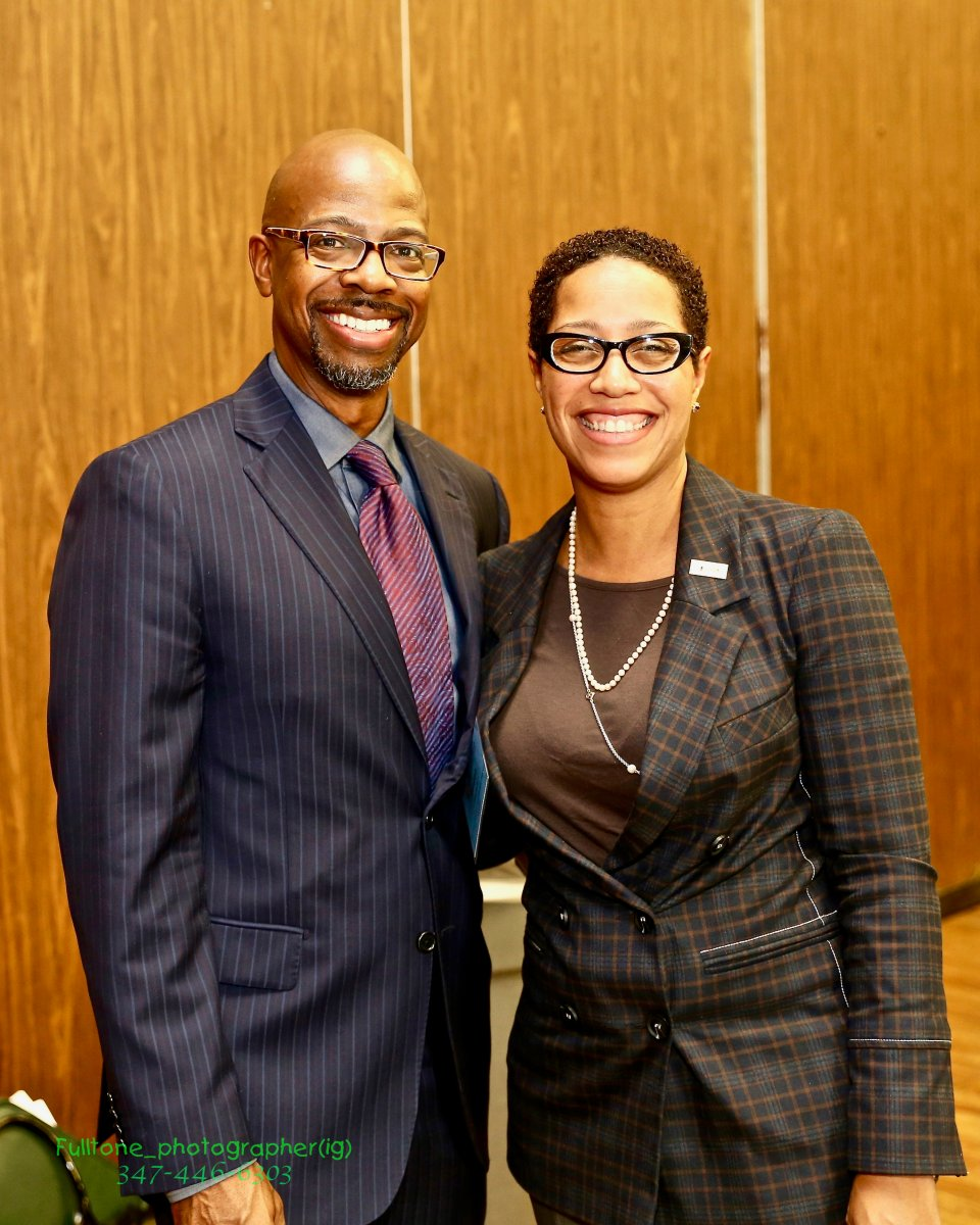 Dr. Reagan Flowers (right) poses with Dr. Frazier Wilson of Shell Oil Company. Photo Credit: OB Grant, Fulltone Photography