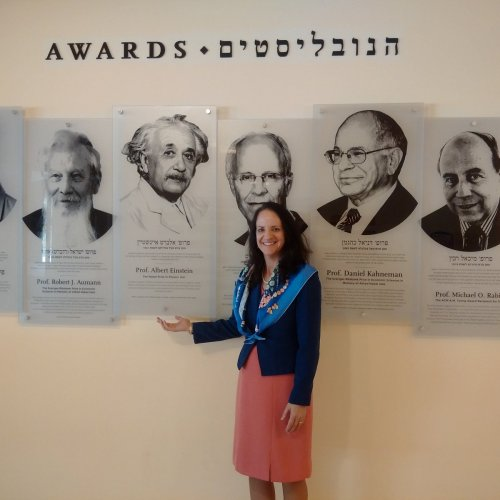 Dr. O'Donnell pictured with Einstein – one of Hebrew University's 409 award winning alumni and one of their 8 Nobel Laureates