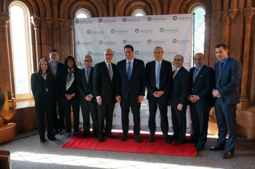 Speakers and VIPs from left to right: Dr. Carol O'Donnell, Mr. Jeff Martin, Ms. Beth McCoy, Mr. Dan Schlessinger, Dr. David Skorton, Ambassador Ron Dermer, Professor Menahem Ben-Sasson, Mr. Murray Palay, Mr. Rami Kleinmann and Mr. Elan Divon