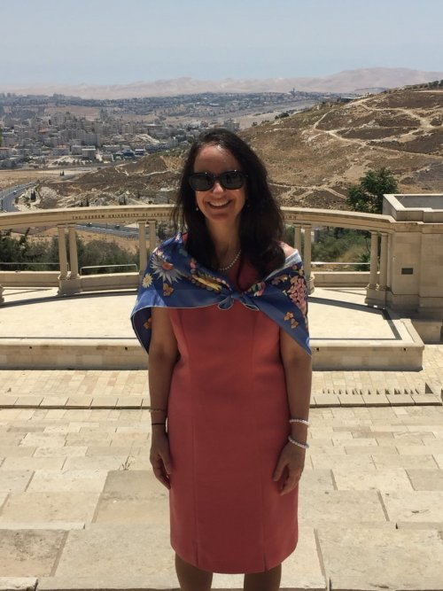 Dr. Carol O'Donnell at Hebrew University's Mount Scopus Campus in Israel Standing at the location where the Hebrew University was Founded