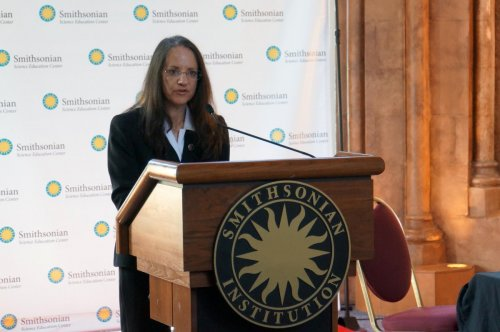 Smithsonian Science Education Center Director, Dr. Carol O'Donnell speaking at Memorandum of Understanding Signing Ceremony on May 16, 2016