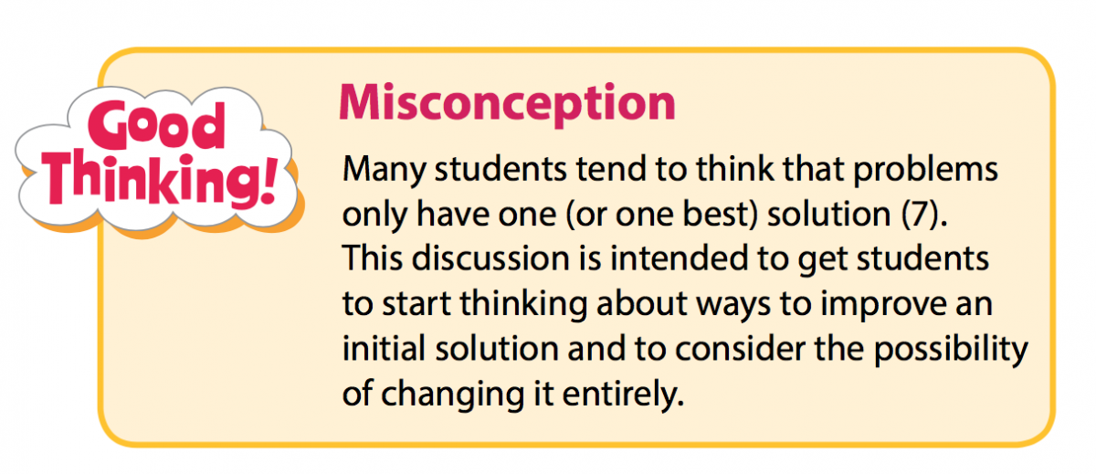 "A Misconception call-out box that reads, ""Many students tend to think that problems only have one (or one best) solution. This discussion is intended to get students to starting thinking about ways to improve an initial solution and to consider the possibility of changing it entirely."""