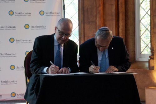 Smithsonian Institution Secretary, Dr. David J. Skorton and Hebrew University of Jerusalem President, Professor Menahem Ben-Sasson signing historic MOU
