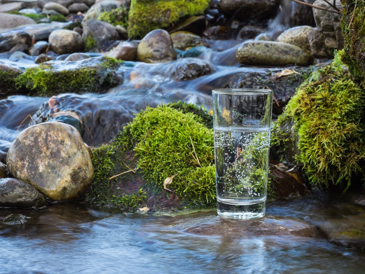 Image of glass of water by stream