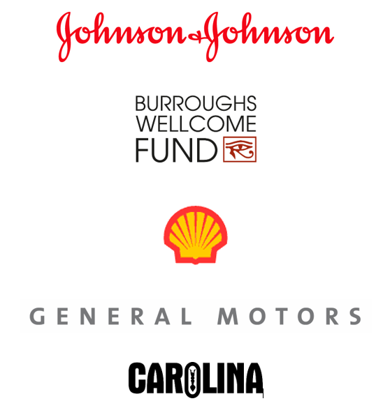 Johnson & Johnson, Burroughs Wellcome Fund, Shell Oil Company, General Motors, and Carolina Biological Supply Company logos