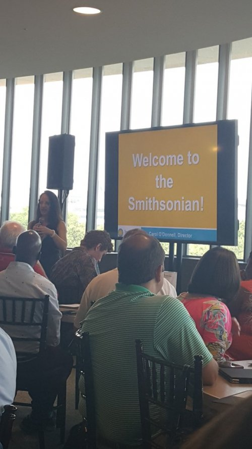 Dr. Carol O'Donnell welcoming NC educators to the Smithsonian