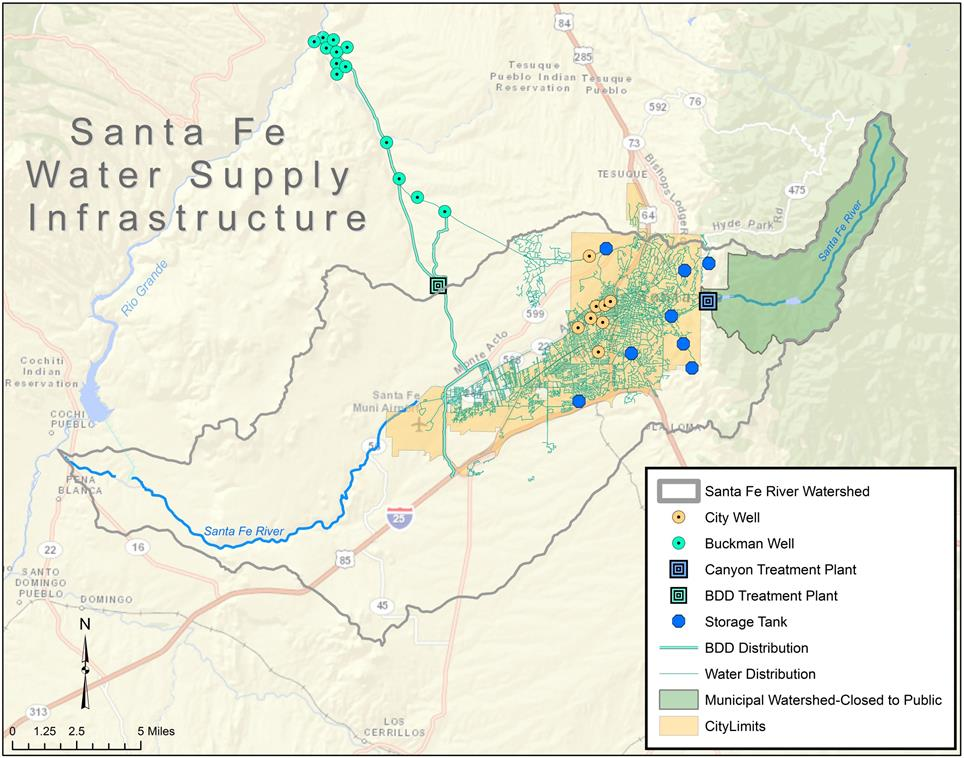 Map of Santa Fe's water infrastructure