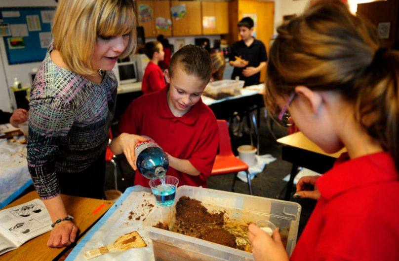 "Students at Chamberlin Academy, an elementary school in the Harrison district, use STC's ""Land and Water"" unit to learn about erosion and deposition of soil"
