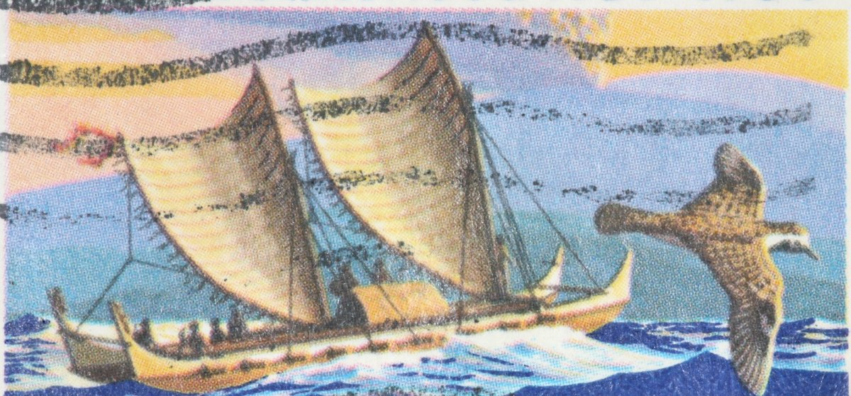 Painting of a boat with two large hulls, equal in length, and lashed side by side. The boat is sailing on water. Pastel sky is in the background and a bird is flying in the foreground.