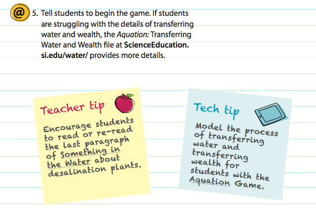 Image giving examples of digital resource notes, Teacher tips, and Tech Tips
