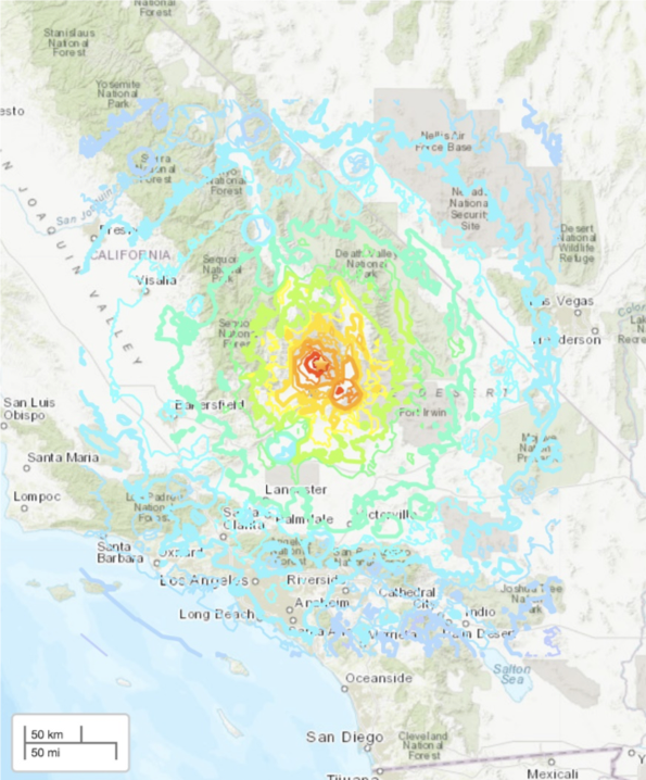 Map of southern California with colored lines showing areas that experienced different amounts of shaking during magnitude 7.1 earthquake.
