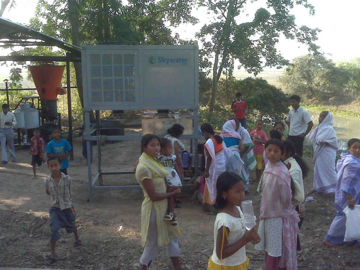 Skywater machine and people in Meghalaya, India