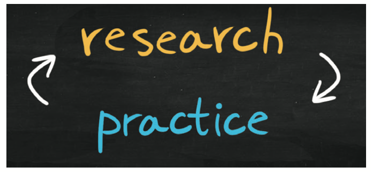 Graphic that has an arrow pointing to research and practices