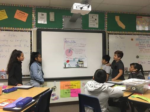 A group of four students stand in front of a poster they have drawn and explain what is on the poster to the class.