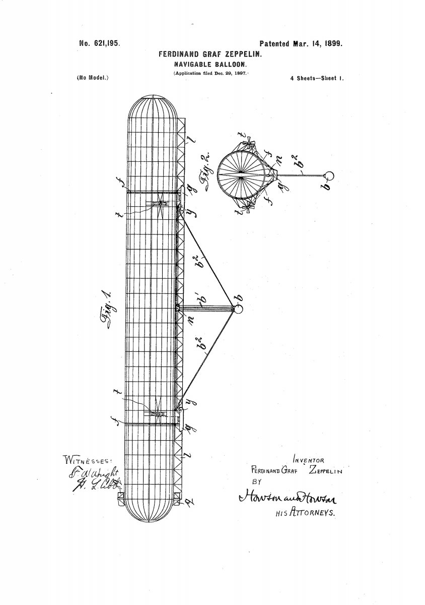 Zeppelin's patent drawing, circa 1899