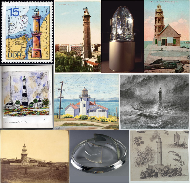 Eight lighthouses portrayed in photographs and drawings. Two examples of lighthouse lenses.