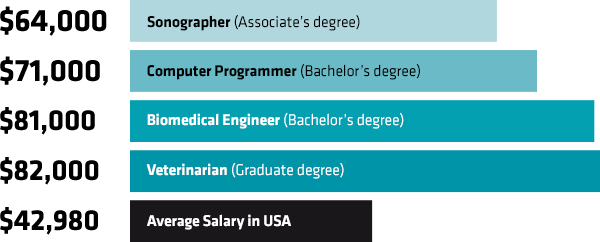 Image shows the average salaries for STEM jobs in the United States