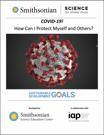 "Image of cover of ""COVID-19! How Can I Protect Myself and Others?"" The main image is an illustration of the coronavirus."