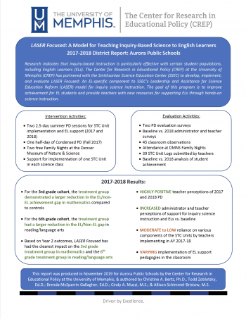 LASER Focused: A Model for Teaching Inquiry-Based Science to English Learners - 2017-2018 District Report: Aurora Public Schools