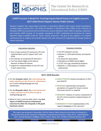 LASER Focused: A Model for Teaching Inquiry-Based Science to English Learners - 2017-2018 District Report: Denver Public Schools