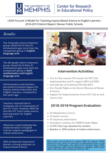 LASER Focused: A Model for Teaching Inquiry-Based Science to English Learners - 2018-2019 District Report: Denver Public Schools