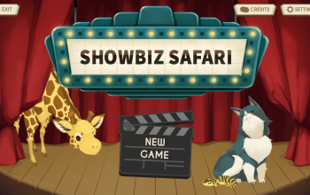 Title screen for the education life science game, Showbiz Safari