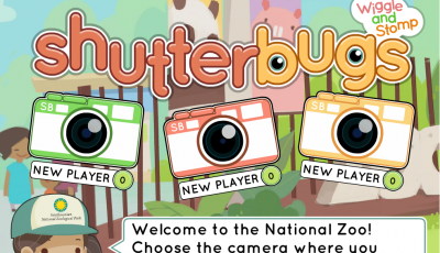 Title screen for the educational kindergarten game, Shutterbugs: Wiggle and Stomp