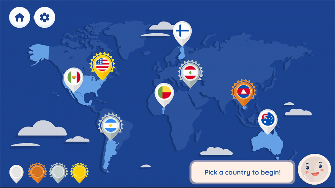Pick Your Plate! A Global Guide to Nutrition world map screen