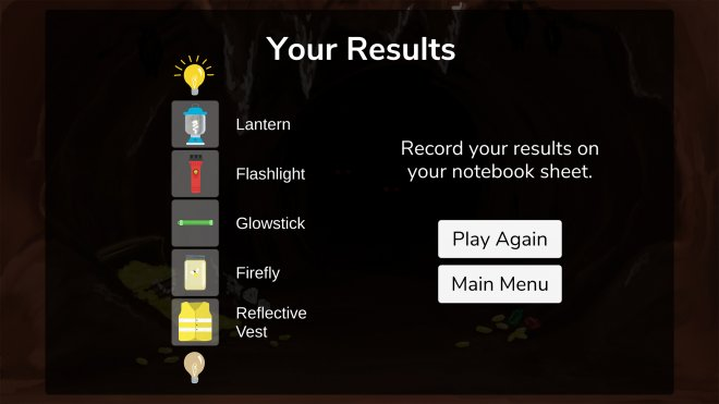 Light Up the Cave results screen
