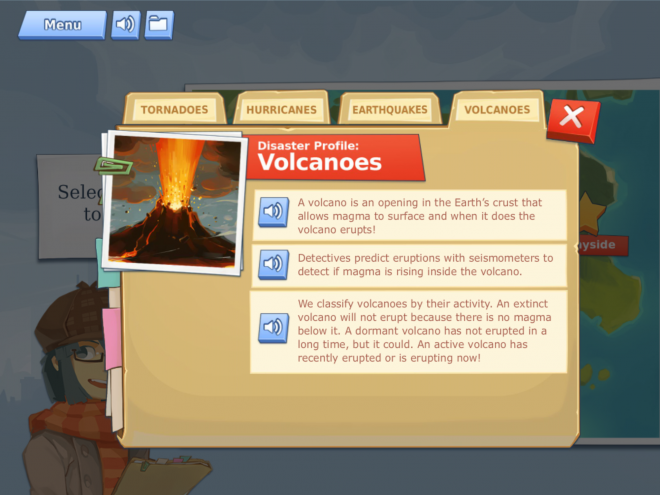 Screenshot from the educational earth science game, Disaster Detector