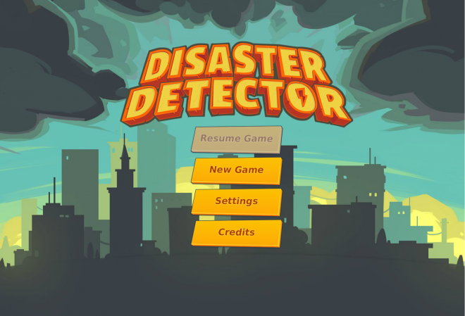 Title screen for the educational earth science game, Disaster Detector.