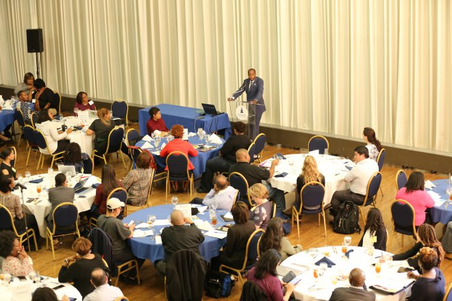 Howard University president Dr. Frederick addresses the leadership summit. Photo Credit: OB Grant, Fulltone Photography