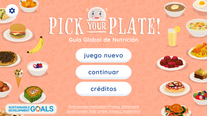 Pick Your Plate! Guía Global de Nutrición title screen