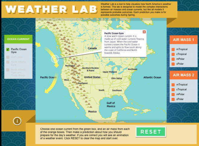 Main screen for the educational earth science app, Weather Lab