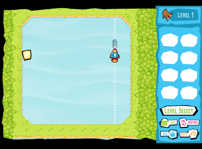 Screenshot of the educational physical science game, BumperDucks