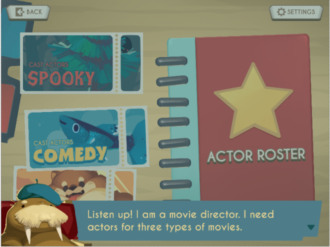 Screenshot of the educational life science game, Showbiz Safari