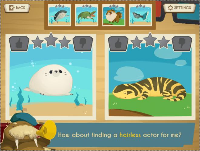 Screenshot of the educational life science game, Showbiz Safari
