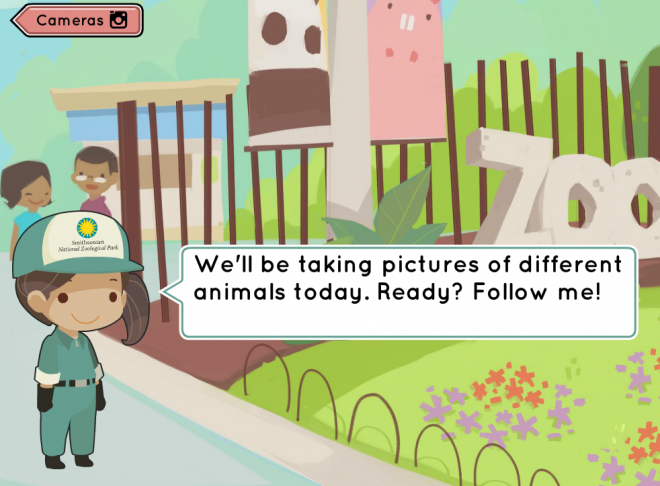 Screenshot of the educational kindergarten game, Shutterbugs: Wiggle and Stomp